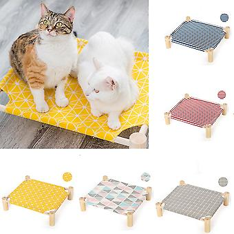 Cat Bed House Cat Hammocks Bed Wood Canvas Cat Lounge Bed For Small Rabbit Cats Dogs Durable Canvas Pet House Supplies