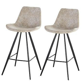 HOMCOM Set Of 2 Bar Stools Vintage Microfiber Cloth Tub Seats Padded Comfortable Steel Frame Footrest Quilted Home Business Bar Cafe Kitchen Chair Stylish Grey