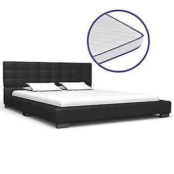 vidaXL bed with memory foam mattress black leatherette 140x200 cm