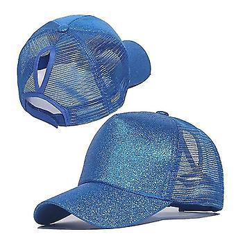 Baseball Pferdeschwanz Mützen, Pailletten Shiny Messy Bun Snapback Hut (Blau)