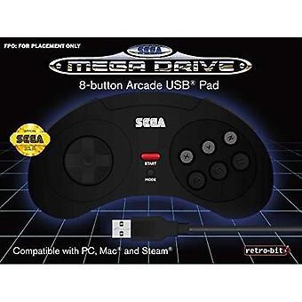 Black Wired Controller Retrobit Sega Mega Drive Usb Connection