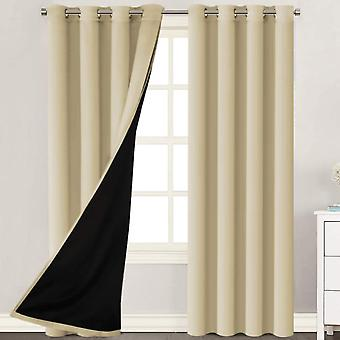 2X 100% mörkläggningsgardiner fönstergardinpaneler, värme och full ljusblockering draperier med svart liner för plantskola, beige