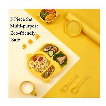 5 Piece Kids Dinnerware Set,toddler Plates And Bowls Set,environmental Kids Utensils