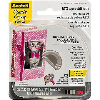 "Scotch Advanced Tape Glider Acid-Free Refills 2/Pkg - .25""X36yd Each, For Use In 085"