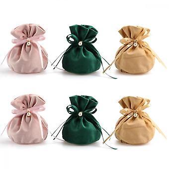 6 Pcs Bijoux Cadeau Cordon De Serrage, 15 * 14cm Velvet Candy Gift Bag Pour Mariages, Fêtes, Anniversaires, Vacances, Magasins, Snacks Stockage (rose, Vert,