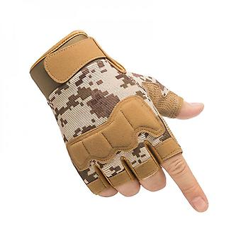 Knuckle Protection, Breathable And Lightweight Outdoor Fingerless Tactical Gloves, Suitable For Shooting, Hunting, Motorcycles, Mountaineering - Yello