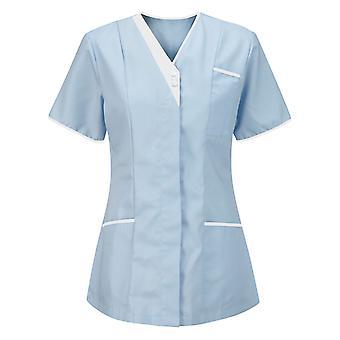 Dámske krátke rukávy Pracujúca uniforma blúzka s výstrihom do V Top Znečistené zdravotné sestry