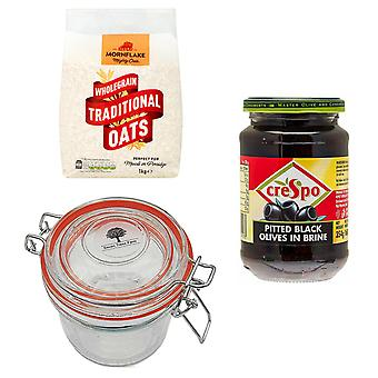 Kit de ferme Seven Trees avec 4 produits | 1 x bocal en verre 350ml, 1 x avoine traditionnelle 1Kg, 1 x olives noires 354G et un sac d'arbre recycler GRATUIT