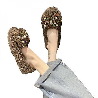 Winter Warm Round Head Shallow Mouth Muffin Bottom Suede Low Heel Cotton Shoes Slippers Fashion Women's Shoes
