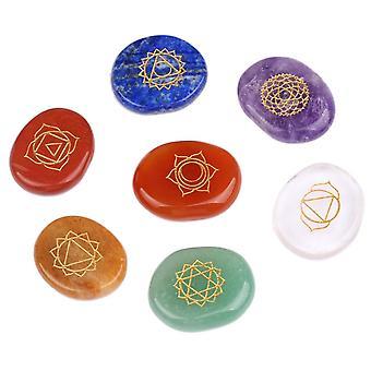 Reiki Chakra Helende Stenen Met Gegraveerde Symbolen Natuurlijk Onregelmatig Kristal