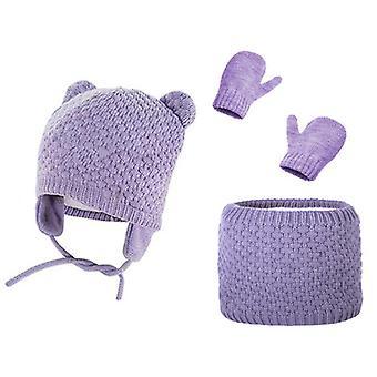 Children's Hats, Scarves, Gloves, 3-piece Set