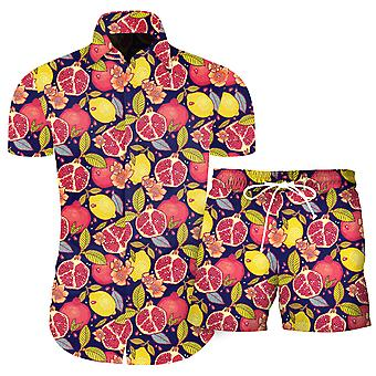 Silktaa Men's 3d Printed Casual Buttoned Short Sleeve Hawaiian Shirt Set