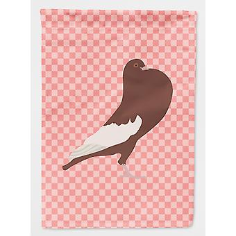 Carolines Treasures  BB7954GF English Pouter Pigeon Pink Check Flag Garden Size