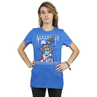 Tom And Jerry Women's Christmas Fair Isle Boyfriend Fit T-Shirt