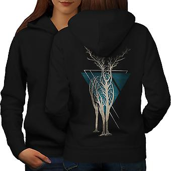 Nature Tree Art Animal Women BlackHoodie Back | Wellcoda