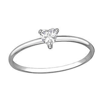 Heart - 925 Sterling Silver Jewelled Rings - W35715X