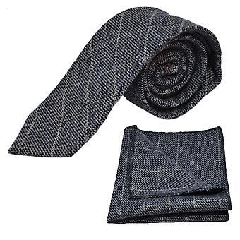 Piedra azul Birdseye cheque corbata y conjunto Plaza de bolsillo