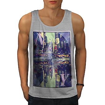 Square Time New York Men GreyTank Top | Wellcoda