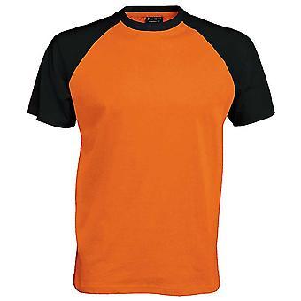 Kariban Mens cores curto manga de beisebol algodão camiseta esportes