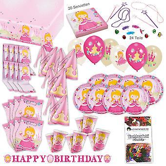 Festa de princesas rosa conjunto XL 101-teilig para 8 convidados princesa partido pacote festa