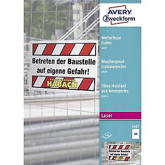 Avery-Zweckform 3487 väderbeständig film A4 laserskrivare, laser, färg, kopiator, färgkopiator vit 100 PC (s)