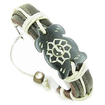 Amulet lederen verstelbare armband met Turtle Yin Yang Lotus symbool Lucky Charm