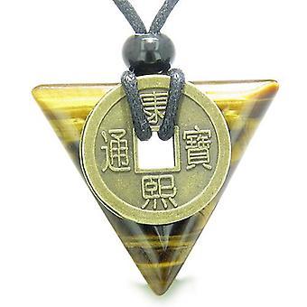Amulett Dreieck Schutz Kräfte Antik Glücksmünze Charme Tiger Eye Pfeilspitze Anhänger Halskette