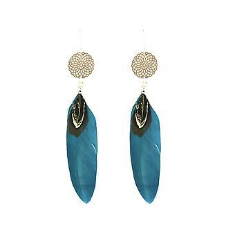 Boucles d'oreilles Gemshine Dream Catcher 925 Silver Boho Blue Teal Feather 9 cm