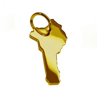 Trailer map BENIN pendant in solid 585 yellow gold