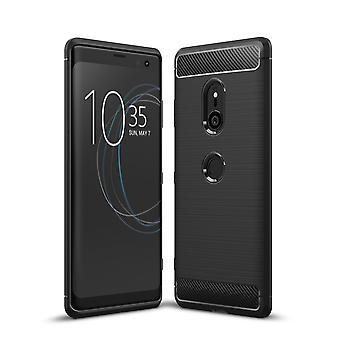 Sony Xperia XZ3 TPU caso carbono fibra óptica escovado estojo preto