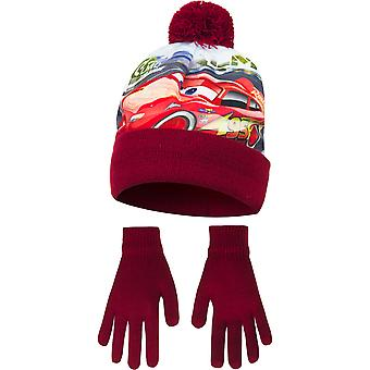 Disney Cars Childrens Boys Top Speed Winter Hat And Gloves Set