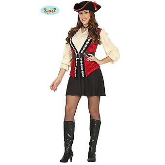 Sexy Pirate drakt med rød vest kjole for damer