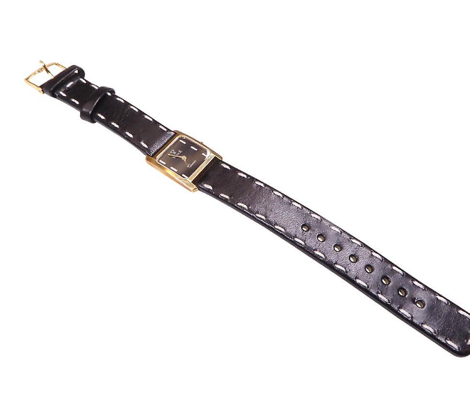VincencE gouden horloge met leren band