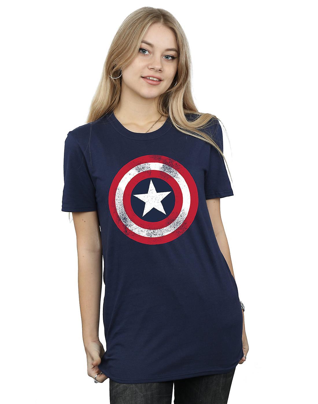 Marvel Women's Captain America Distressed Shield Boyfriend Fit T-Shirt