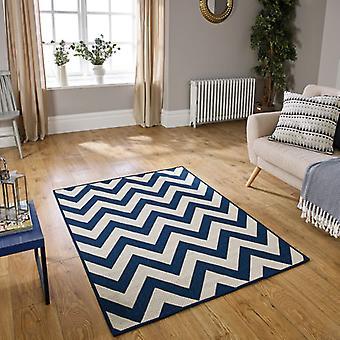 Tapetes tapetes de retângulo azul sem formatação Chevron Flatweave moda/quase lisos