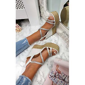 IKRUSH Womens Sorsha Diamante Braided Wedged Heel