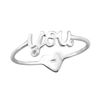 """""""you"""" And Heart - 925 Sterling Silver Plain Rings - W24610x"""