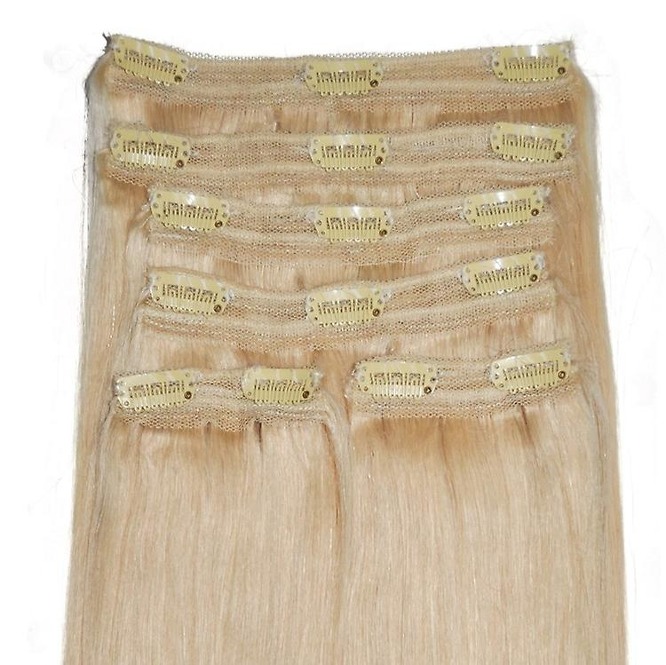#22 blond clair naturel - Clip-in Hair Extensions - tête complète - Deluxe