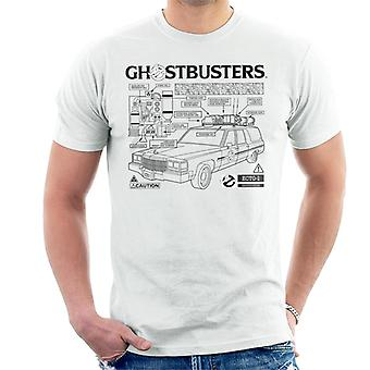 Ghostbusters Ecto 1 Blueprint Black Text Men's T-Shirt