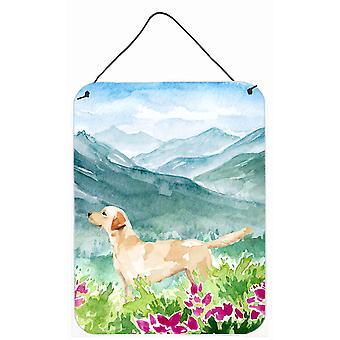Mountian Flowers Yellow Labrador Wall or Door Hanging Prints
