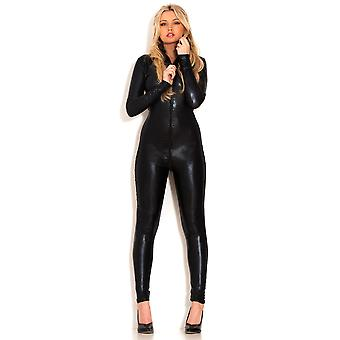 Honour Women's Catsuit Black Outfit Skin Tight Fit Longsleeved