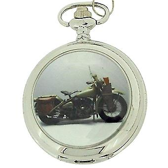 Boxx Gents White Dial Harley Motor fiets zakhorloge op 12 Inch ketting Boxx96