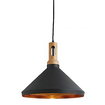 Suchscheinwerfer Cone schwarz Anhänger mit Gold innen und Holz-Details