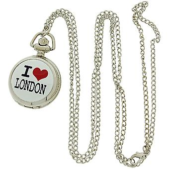 "EN London Ladies "" Jag älskar London&Pink Dial 30 Inch Halsband Hängande Watch ANPW02"
