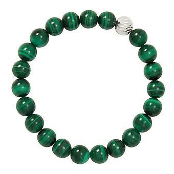 الأبدية جمع لاول مرة الأخضر Malachite شبه الثمينة الخرز الفضي لهجة تمتد سوار