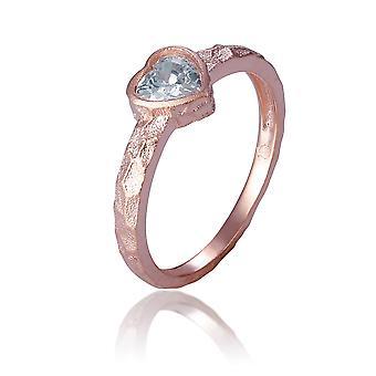 Orphelia Silver 925 ring Rose hjerte med Stone ZR-7435