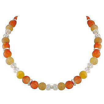 Eternal Collection Rhapsody Orange Jade And Agate Crystal Beaded Statement Necklace