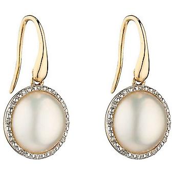 Boucles d'oreilles Elements Gold Mabe Pearl and Diamond - Argent/Crème/Or