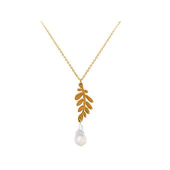 Gemshine necklace leaf olive branch silver, gold plated or rose with baroque pearl