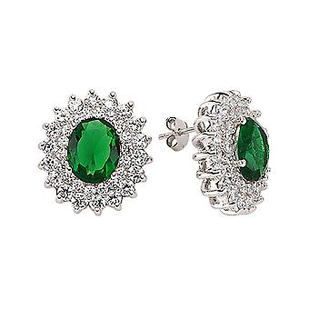 Jewelco London Rhodium Plated Silver Green and White Oval and Round Cubic Zirconia Royal Cluster Stud Earrings